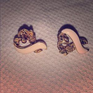 Goldtone pink vintage Avon earrings